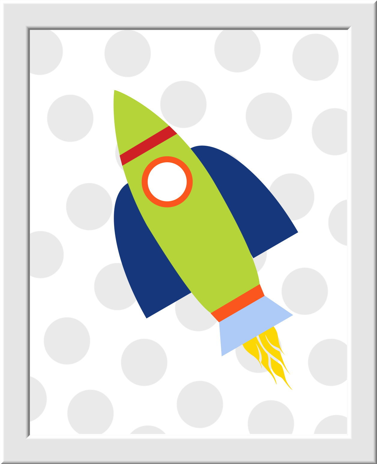 Baby Nursery Wall Art - Shoot For The Moon - Spaceships - Set of 3 - Green Blue Red - Transportation - Boys