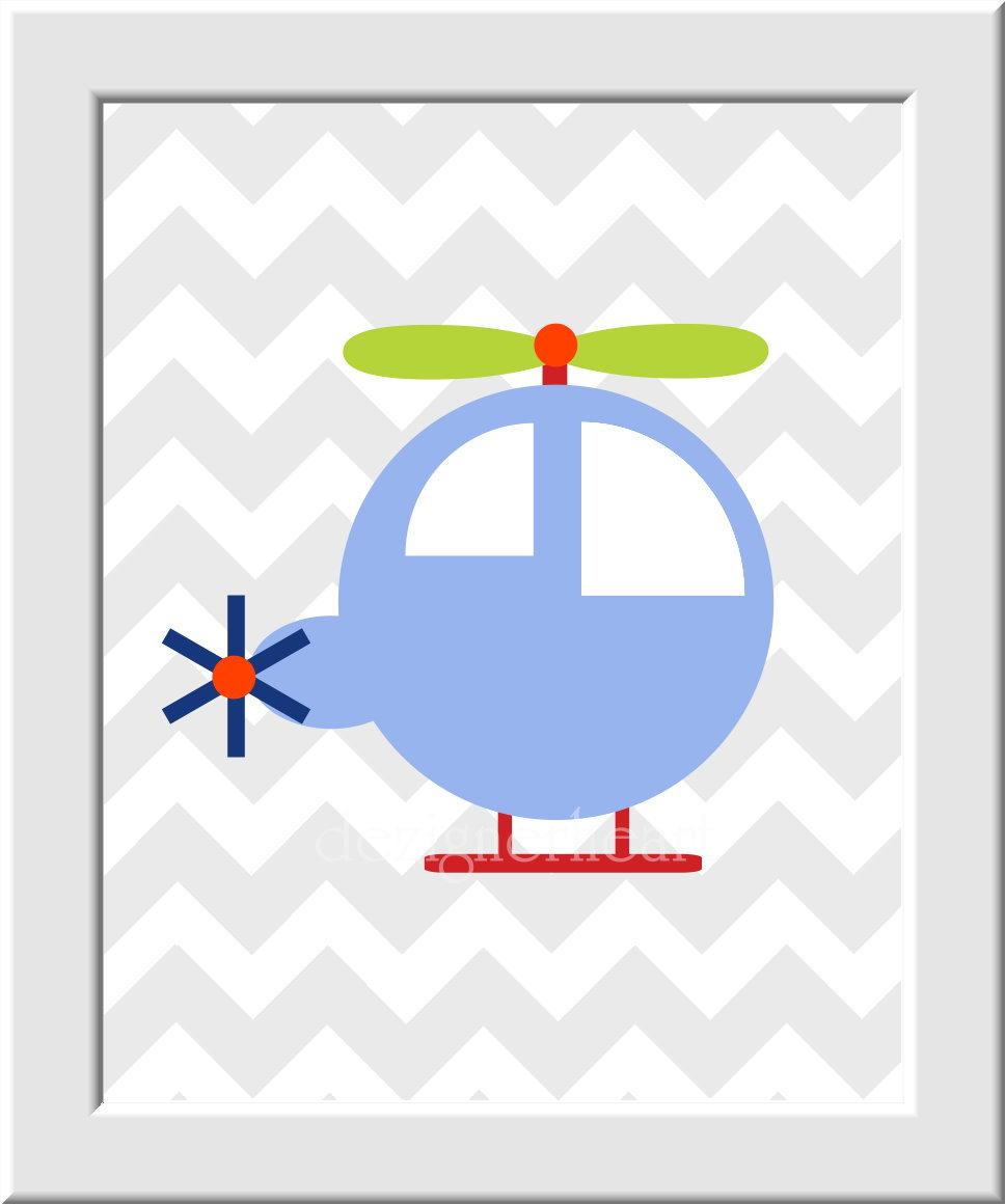 Baby Nursery Wall Art - Boat Plane Helicopter Train - Set of 4 - Blue Red Orange - Transportation  - Boys