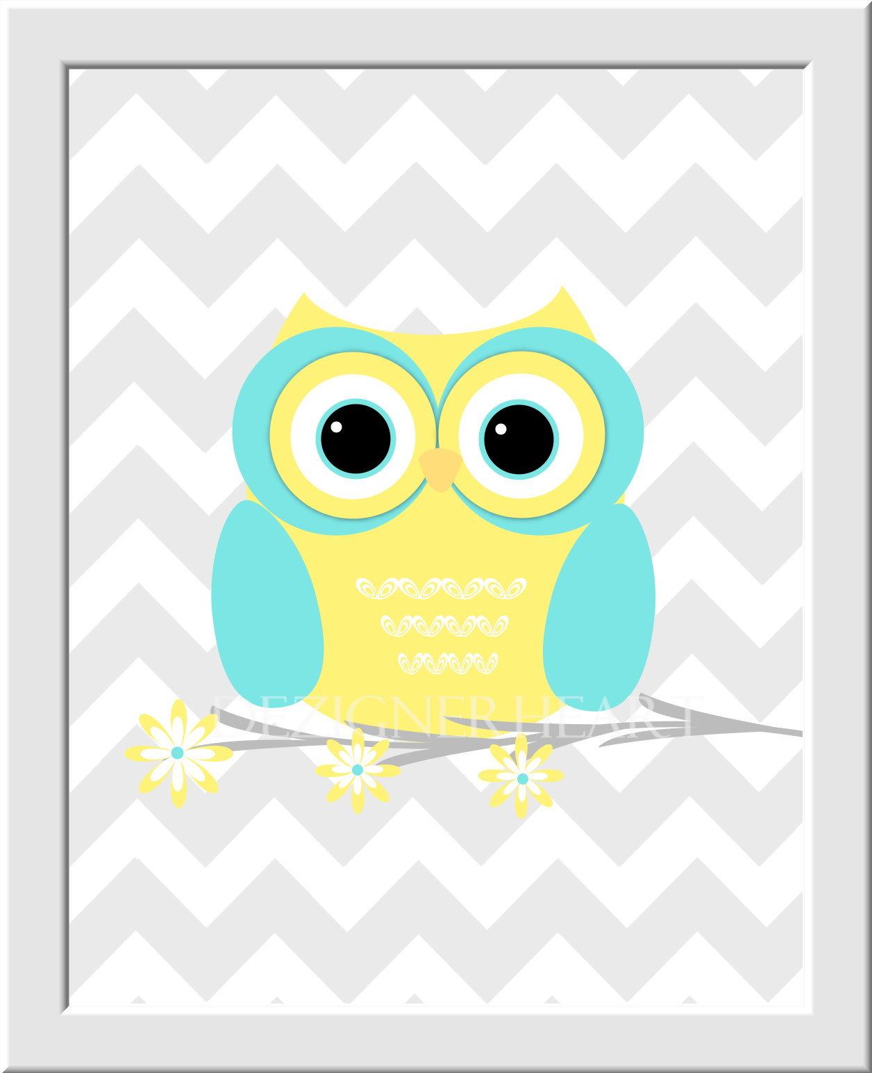 Owl Baby Girl Nursery Wall Art Yellow Aqua Gray Grey LOVE Baby Girl ...