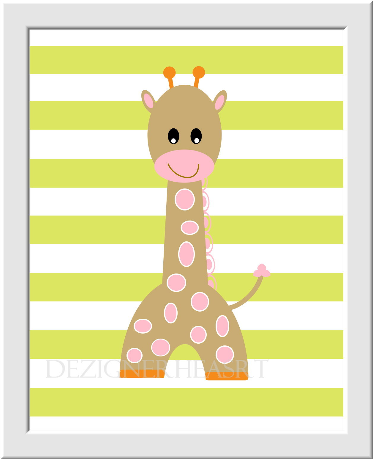 Baby Girl Nursery Wall Art Pink Brown Green Safari Jungle Animals ...
