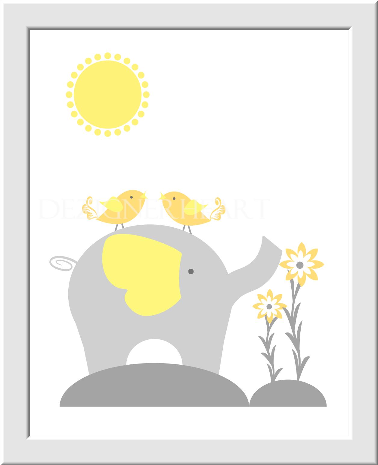 Baby nursery wall art gray yellow grey elephant giraffe tree jungle safari animals birds flowers prints for baby boy nursery prints for baby girl wall baby nursery wall art gray yellow grey elephant giraffe tree jungle safari animals birds flowers prints