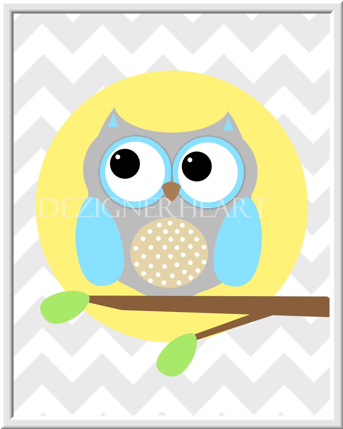 Baby Girl Nursery Wall Art Gray Pink Grey Owls Flower Bursts Dahlias ...