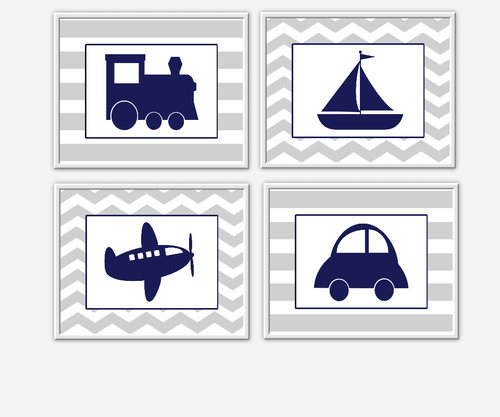 Baby Boy Nursery Wall Art Gray Navy Blue Grey Train Airplane Plane Car Boat Sailboat Chevron Transportation Wall Art for Boys Room Wall Prints for Baby Boy SET OF 4 UNFRAMED PRINTS