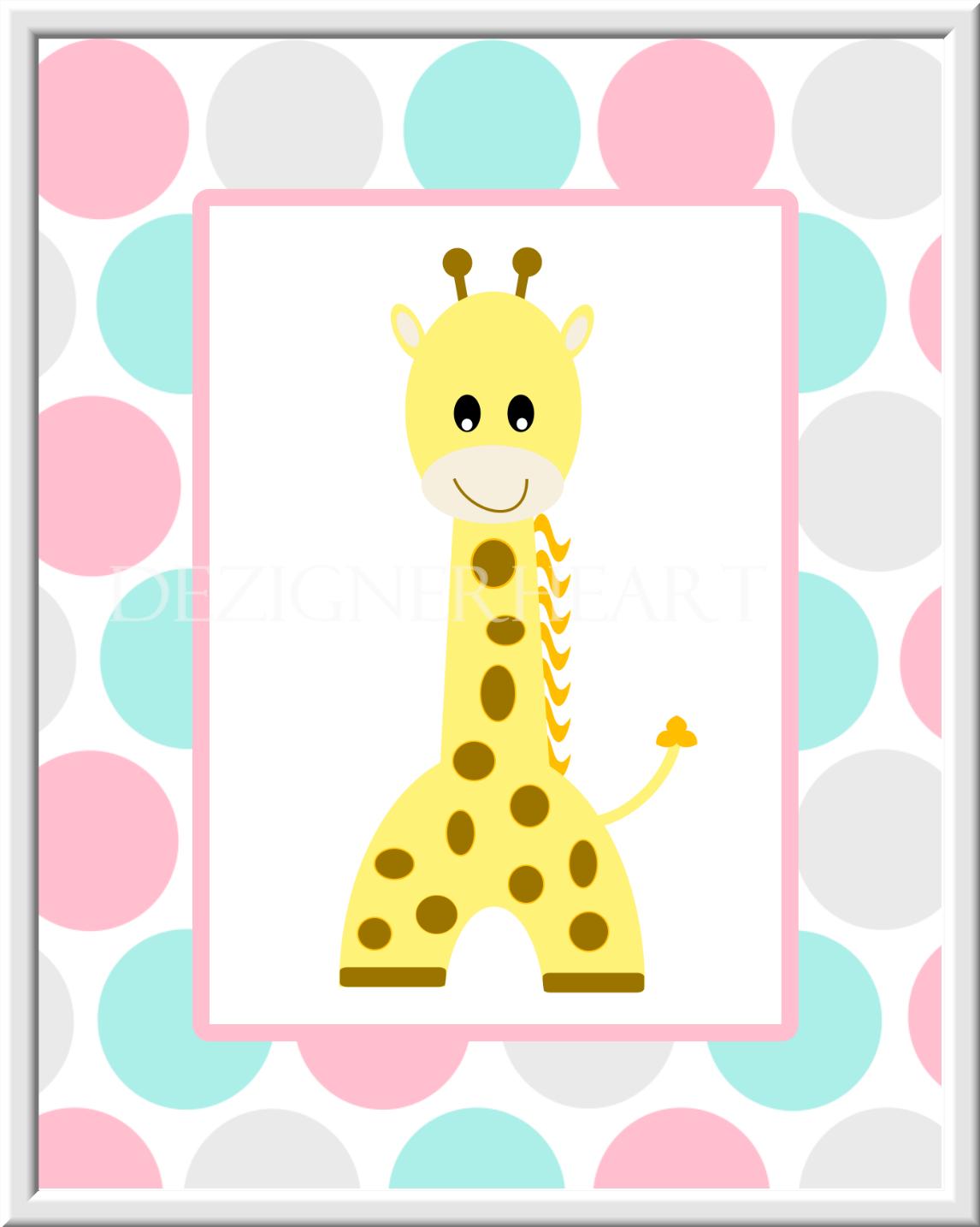 Baby Girl Nursery Wall Art Jungle Safari Animal Prints Elephant ...