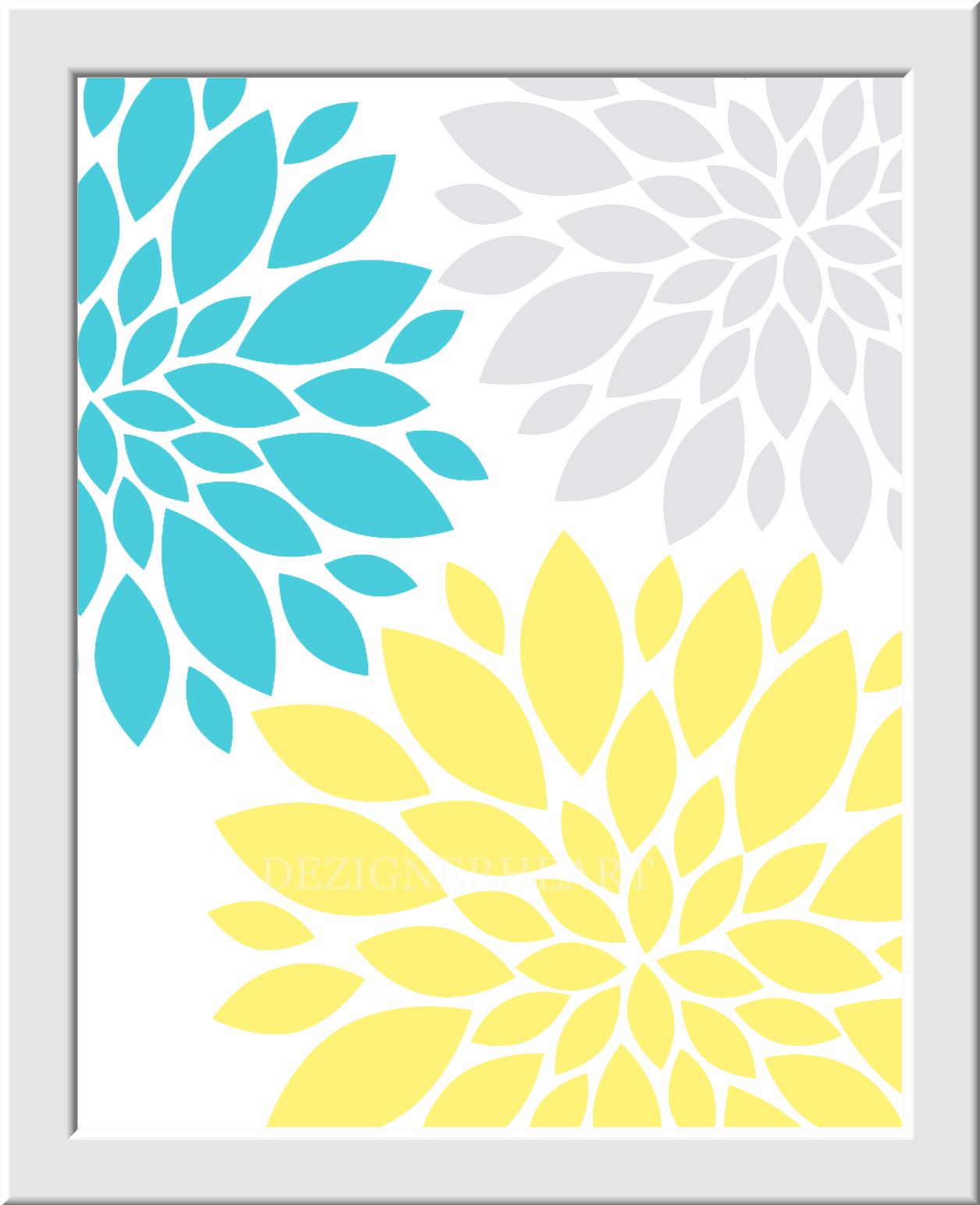 OWL Baby Girl Nursery Wall Art Gray Teal Yellow Grey Flower Bursts ...