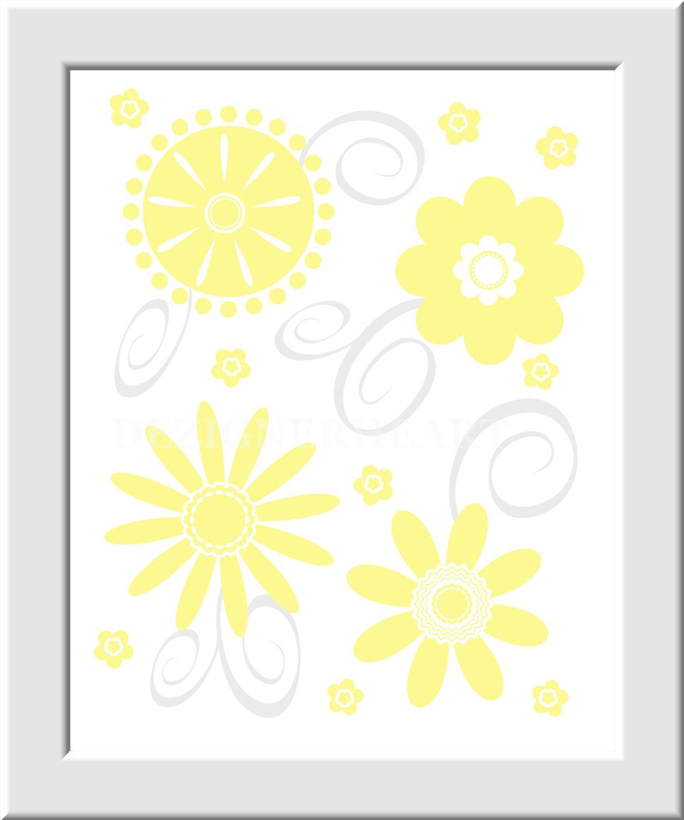 Personalized Baby Nursery Wall Art Gray Yellow Grey Flower Bursts ...