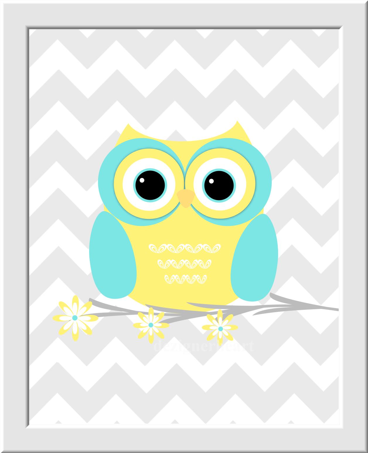 Personalized Baby Nursery Wall Art Gray Yellow Aqua Grey Chevron Owl ...
