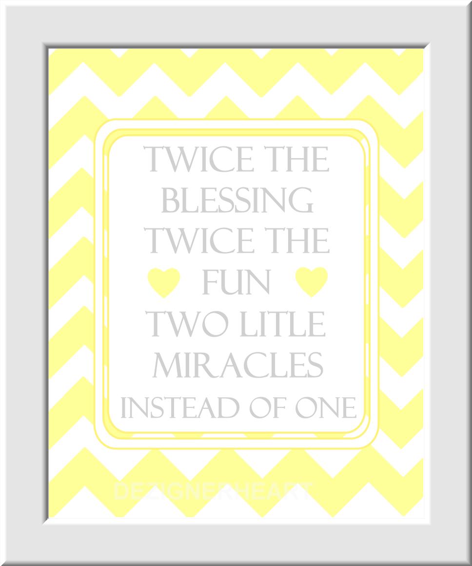 Personalized Twins Baby Nursery Wall Art Gray Yellow Grey Monogram ...