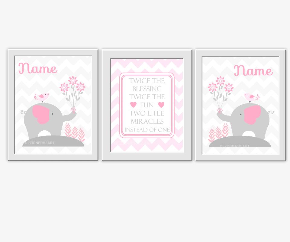 Personalized Twins Baby Nursery Wall Art Gray Pink Grey Monogram ...
