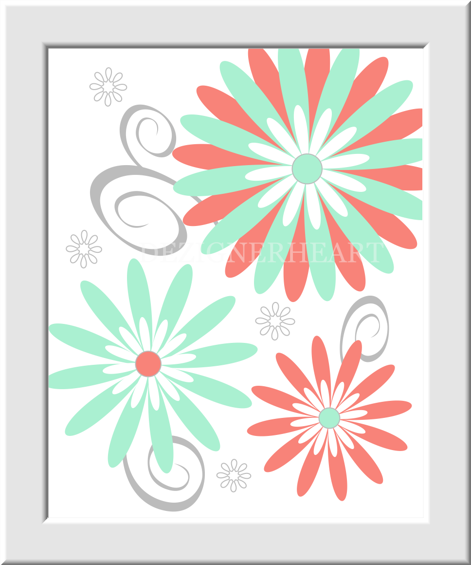 coral baby girl nursery wall art mint green flower bursts floral