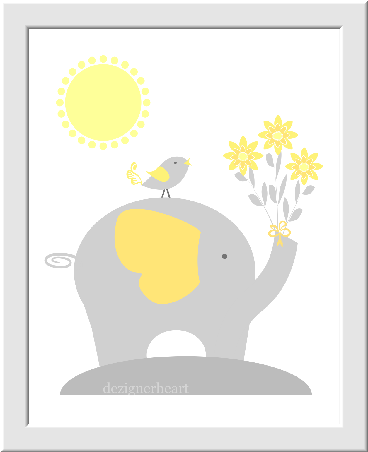 Personalized Baby Nursery Wall Art Gray Yellow Grey Elephant Giraffe ...
