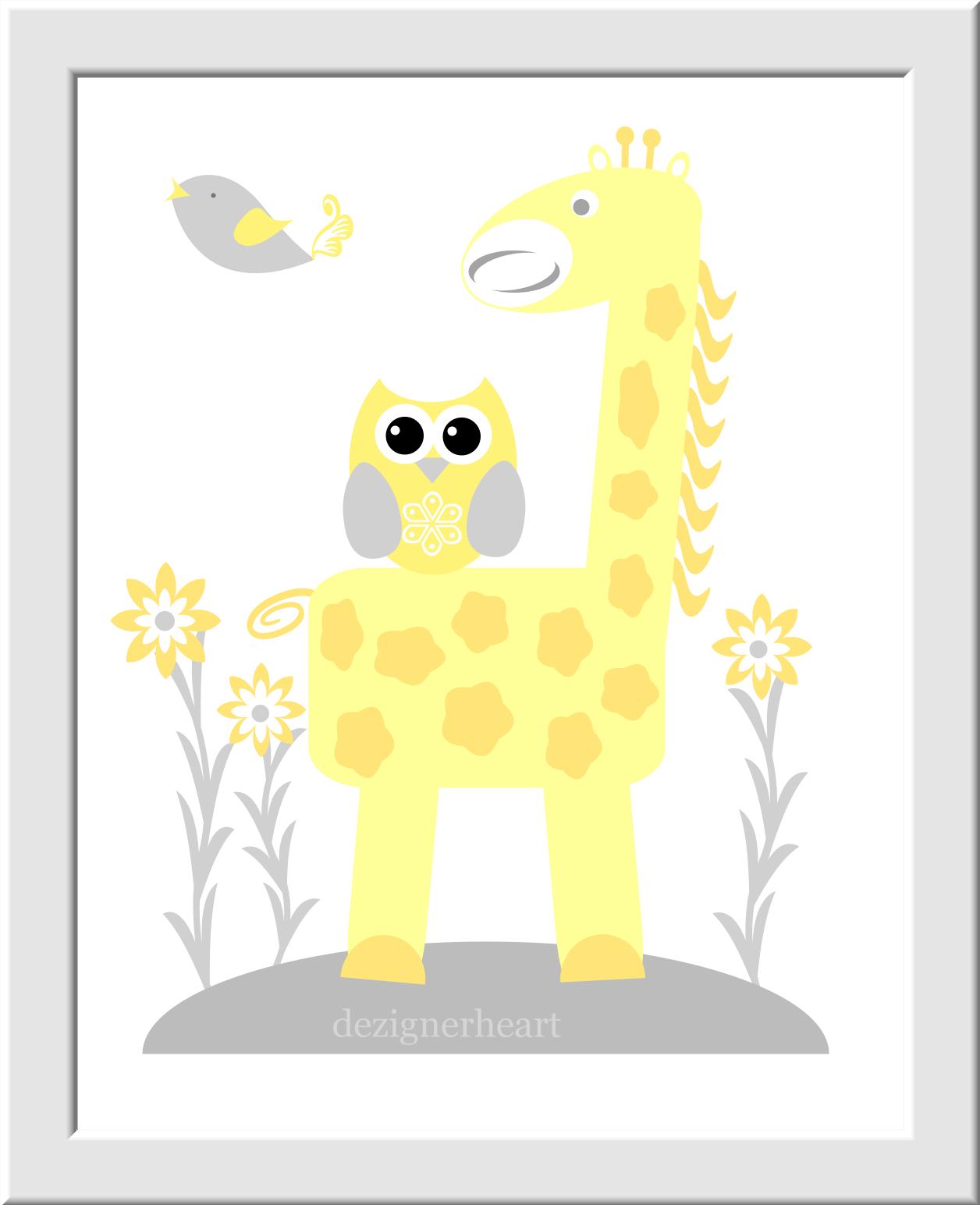 Personalized Baby Nursery Wall Art Gray Yellow Grey Elephant Giraffe ...