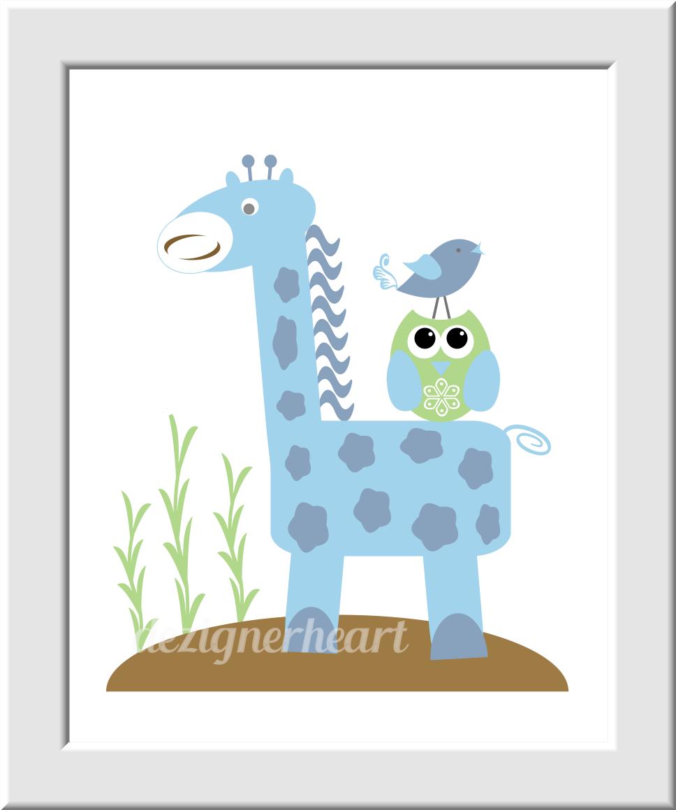 Blue Baby Boy Nursery Wall Art Safari Jungle Animals Giraffe Elephant Monogram Personalized Art