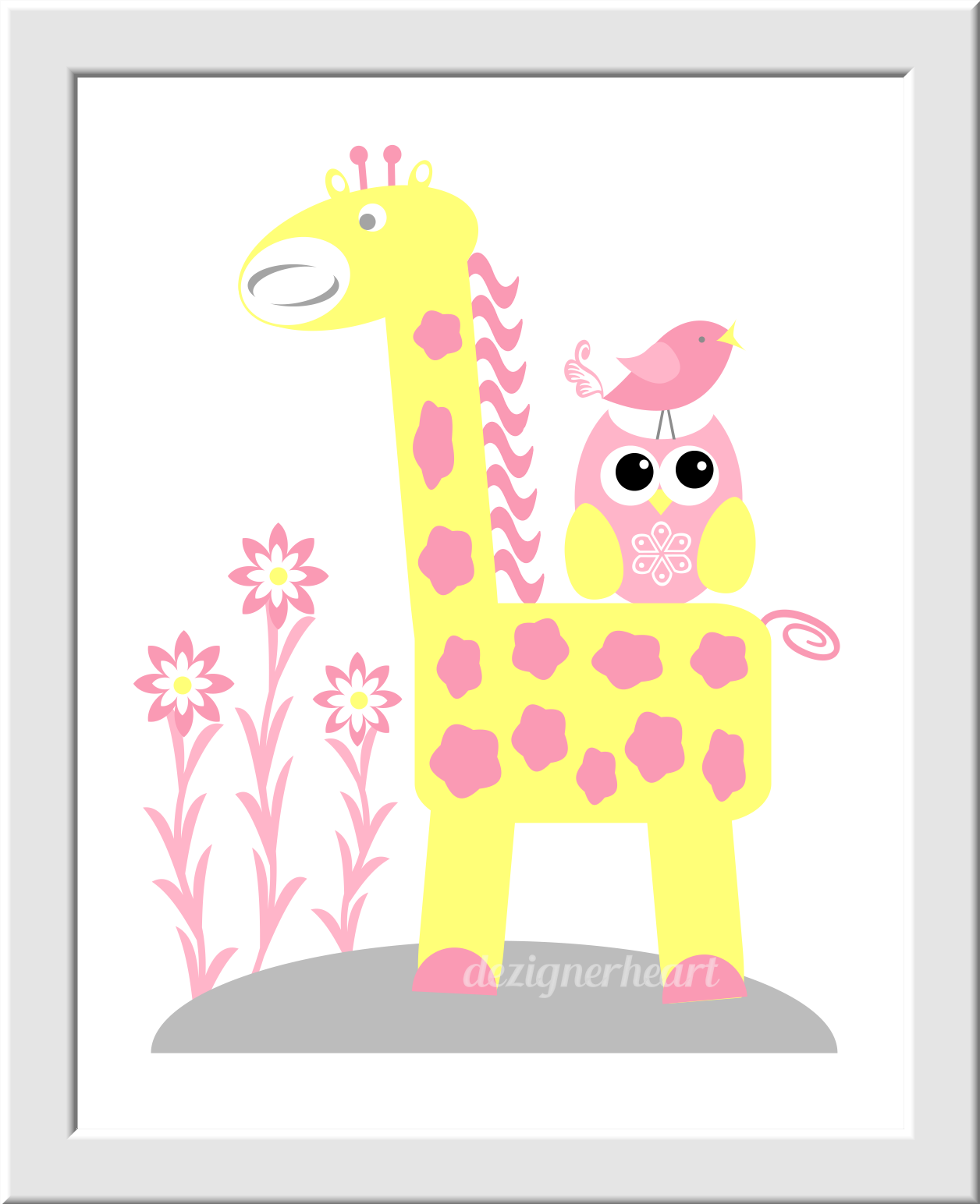 YELLOW Baby Nursery Wall Art Pink Gray Yellow Elephant Giraffe ...