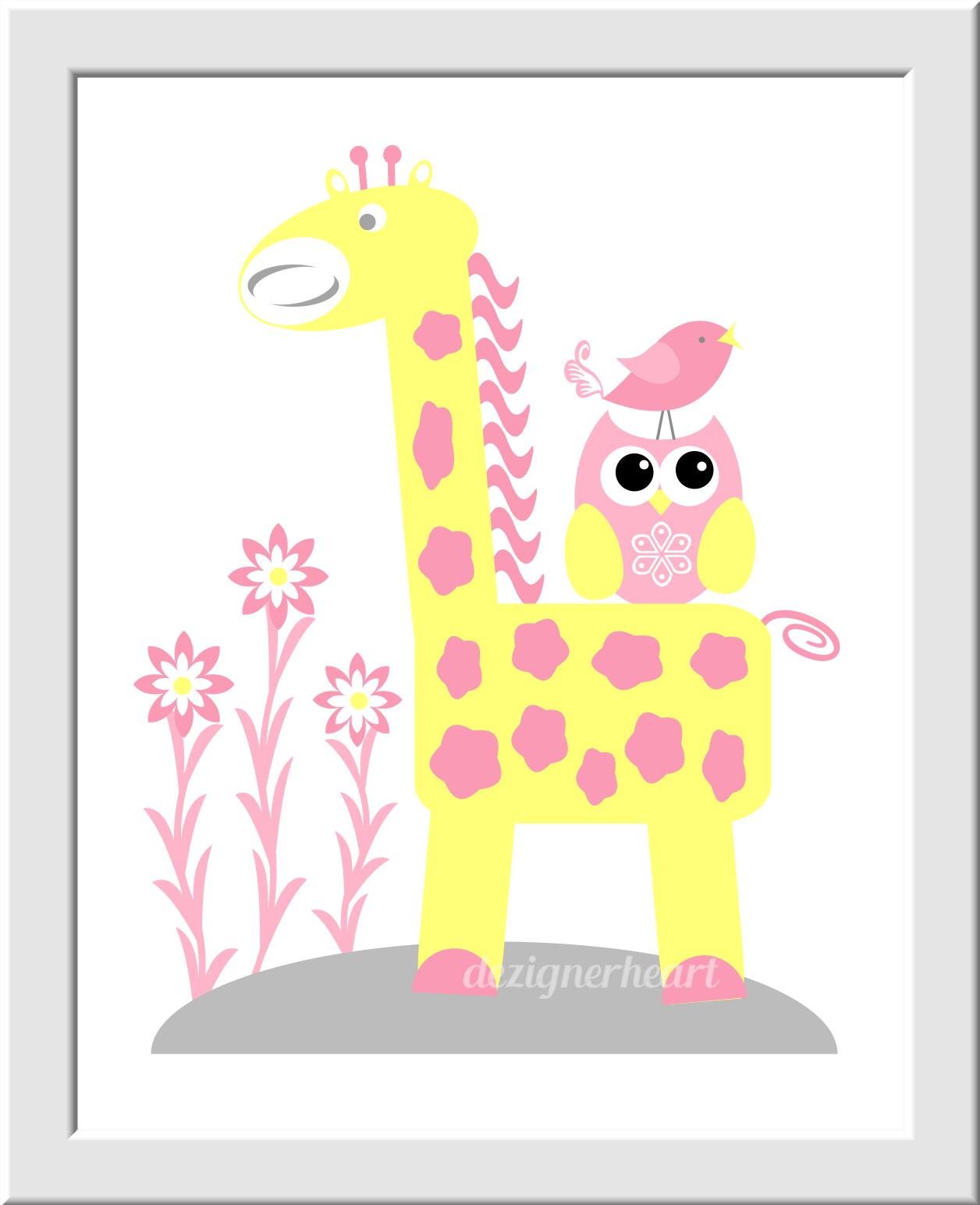 YELLOW Baby Nursery Wall Art Pink Gray Yellow Elephant Giraffe ...