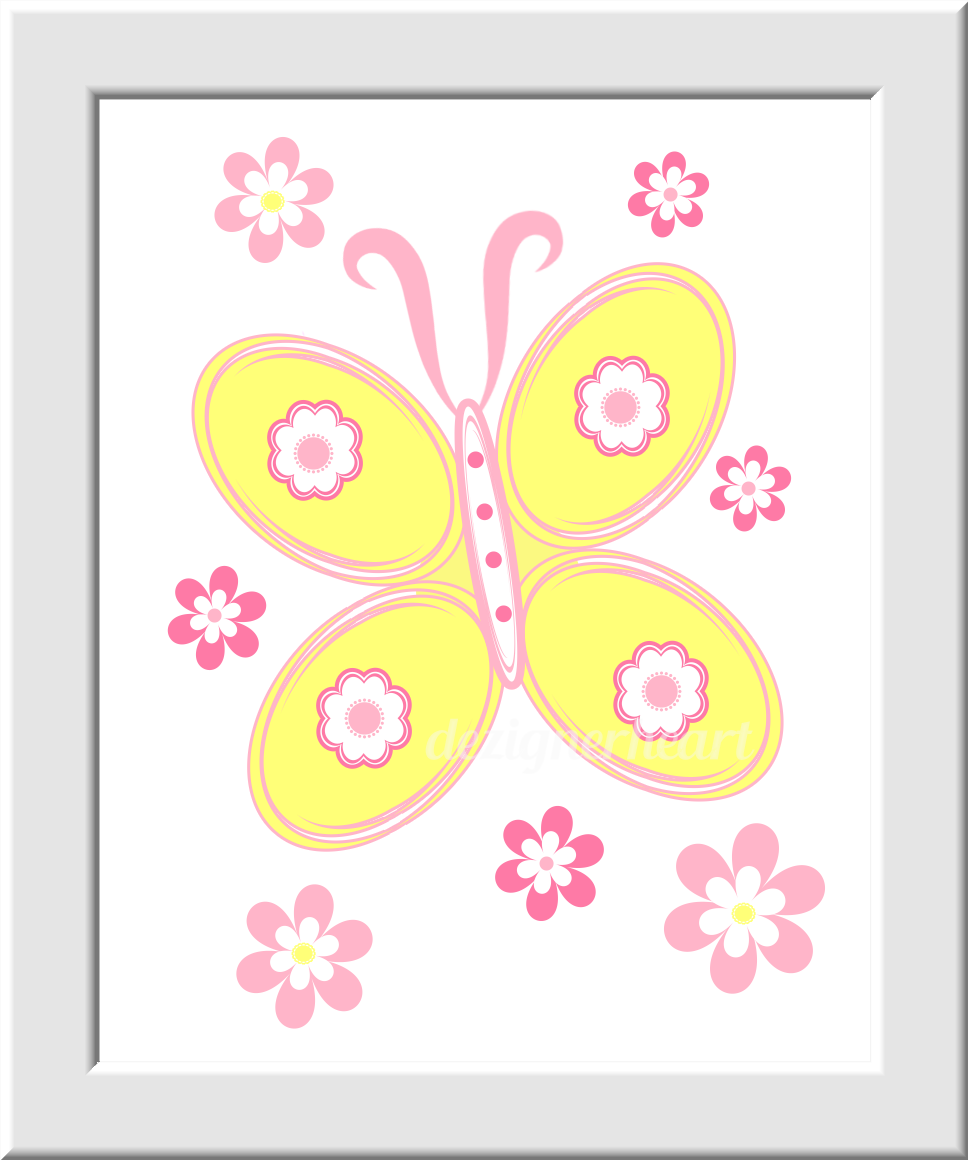 YELLOW Baby Girl Nursery Wall Art Pink Yellow Flowers Butterfly ...