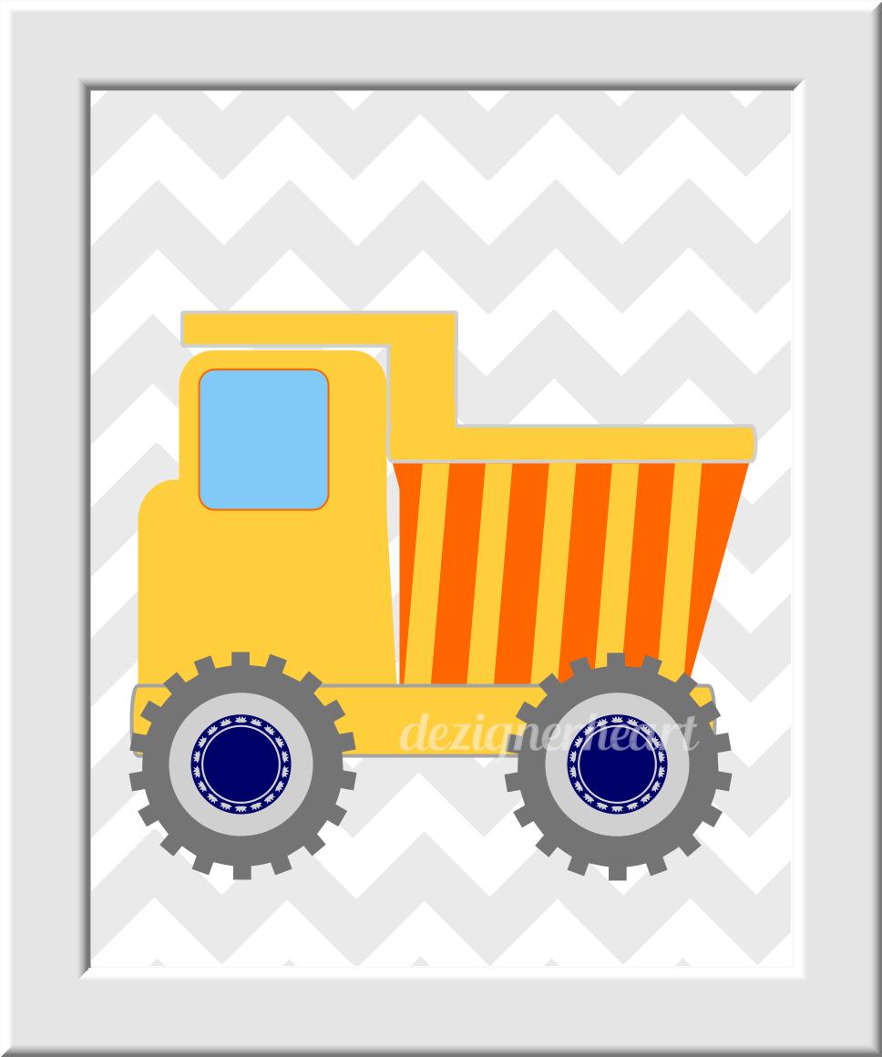 CONSTRUCTION TRUCKS Baby Boy Nursery Wall Art Orlange Blue Yellow ...