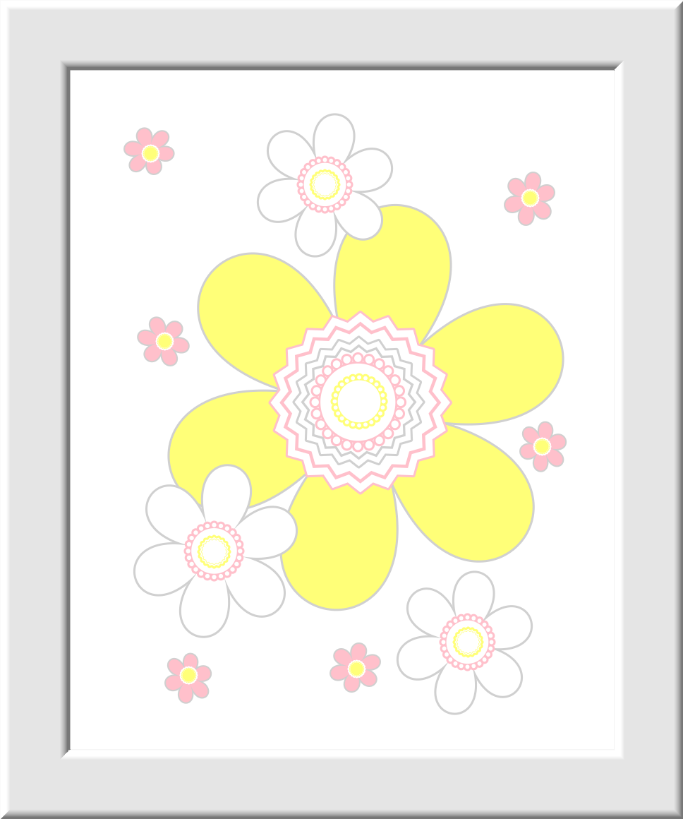 YELLOW Baby Nursery Wall Art Pink Yellow Flowers Flower Butterflies ...