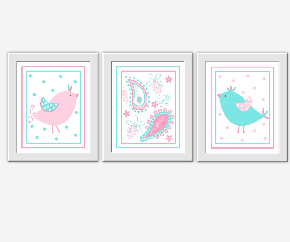 Pink baby girl nursery wall art aqua pink blue birds for Girls wall art