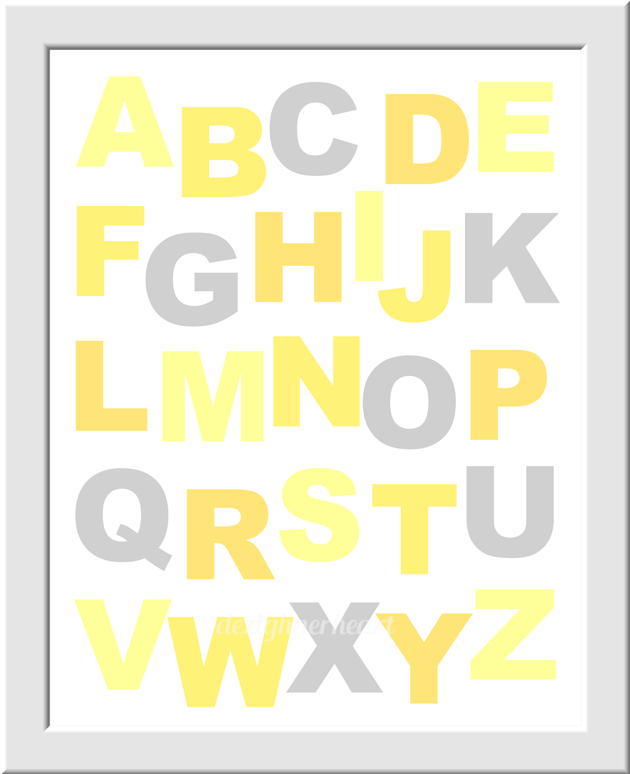 YELLOW GRAY Baby Nursery Wall Art Elephant Giraffe ABC\'s Alphabet ...