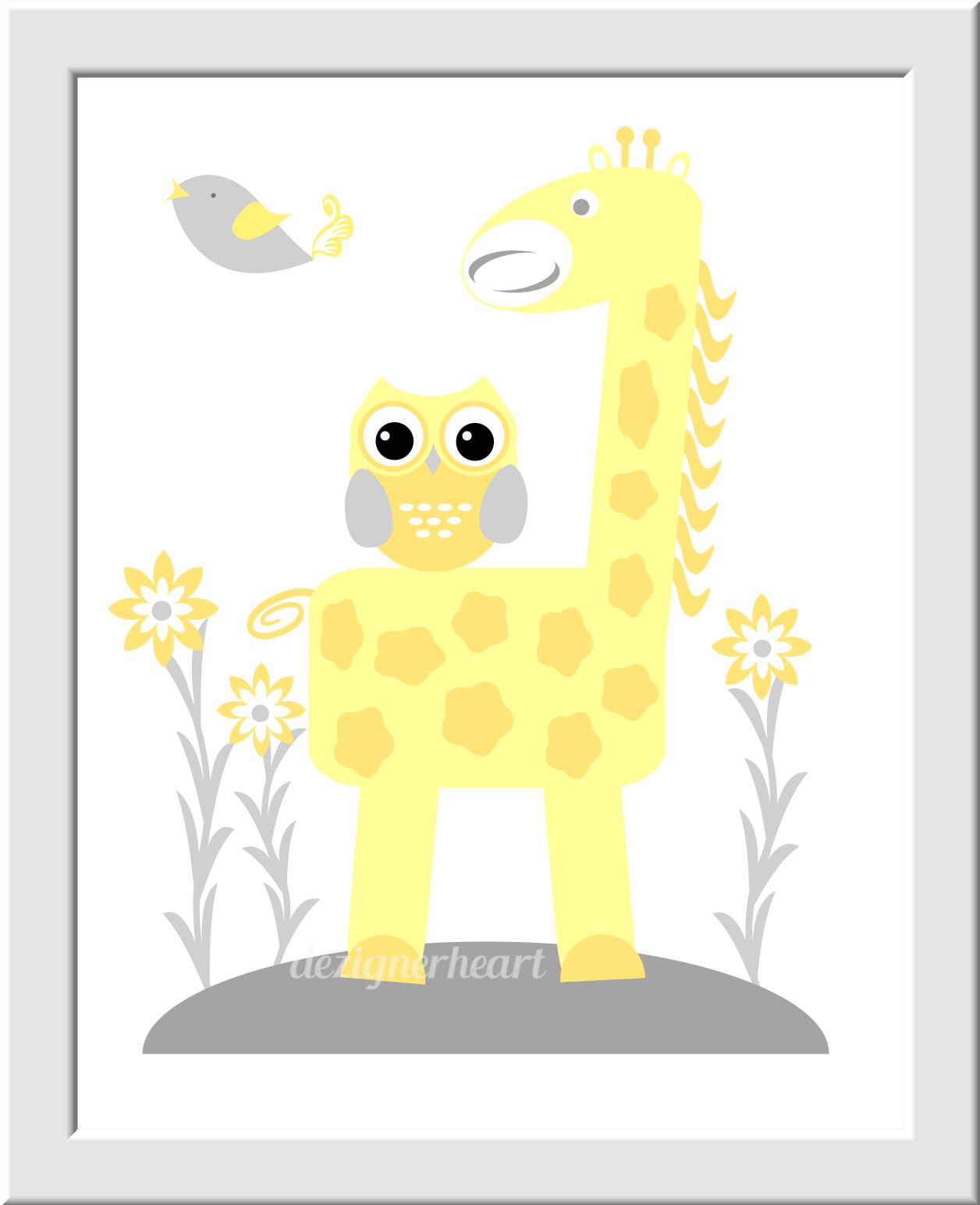 YELLOW GRAY Baby Nursery Wall Art Elephant Giraffe ABC\'s Alphabet ...