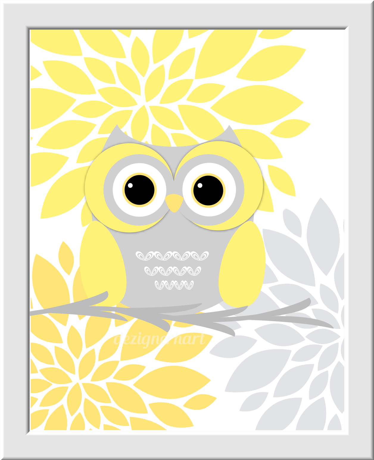 YELLOW GRAY Baby Girl Nursery Wall Art Grey Owls You Are My Sunshine ...