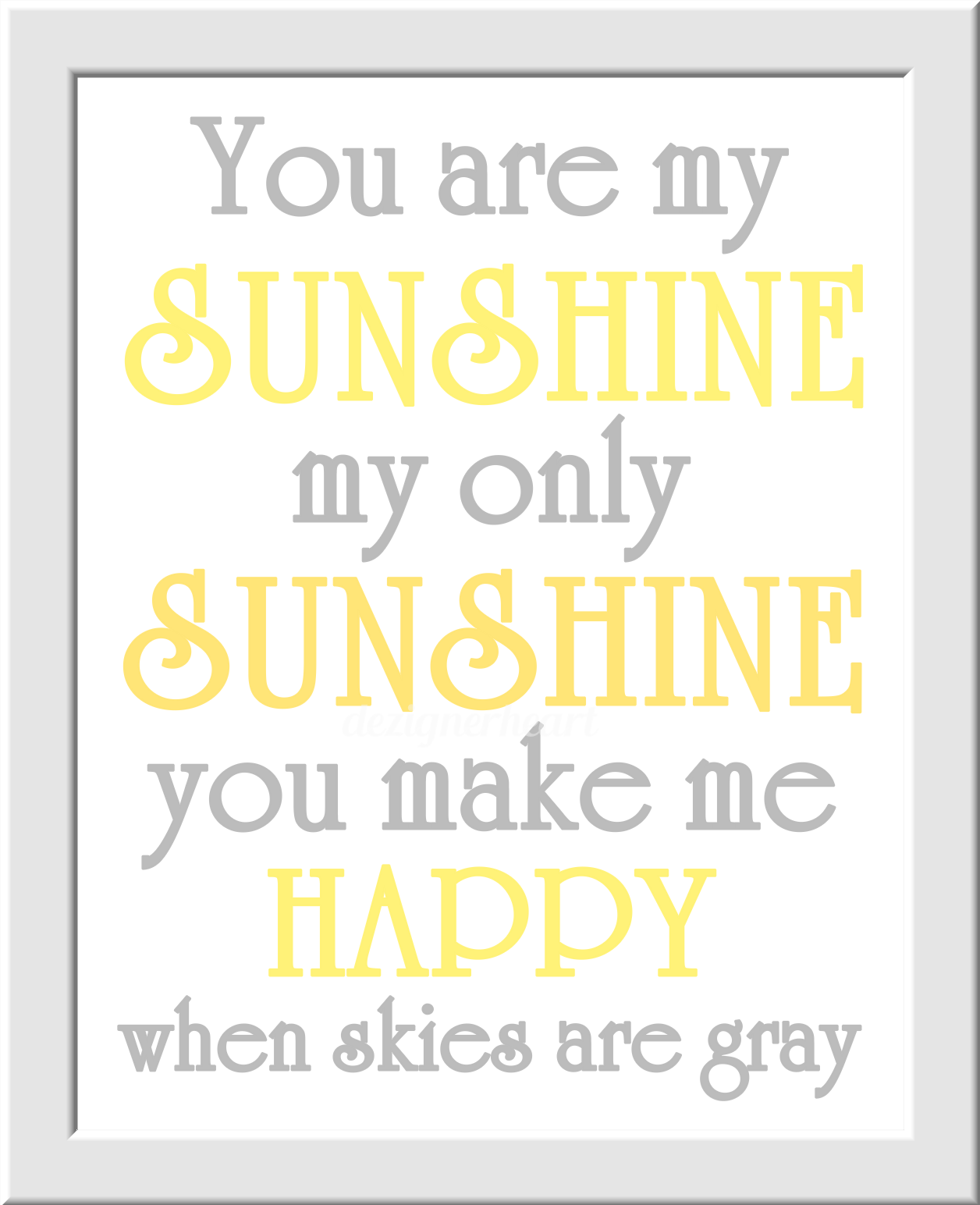 YELLOW GRAY Baby Girl Nursery Wall Art Grey Owls You Are My Sunshine ...