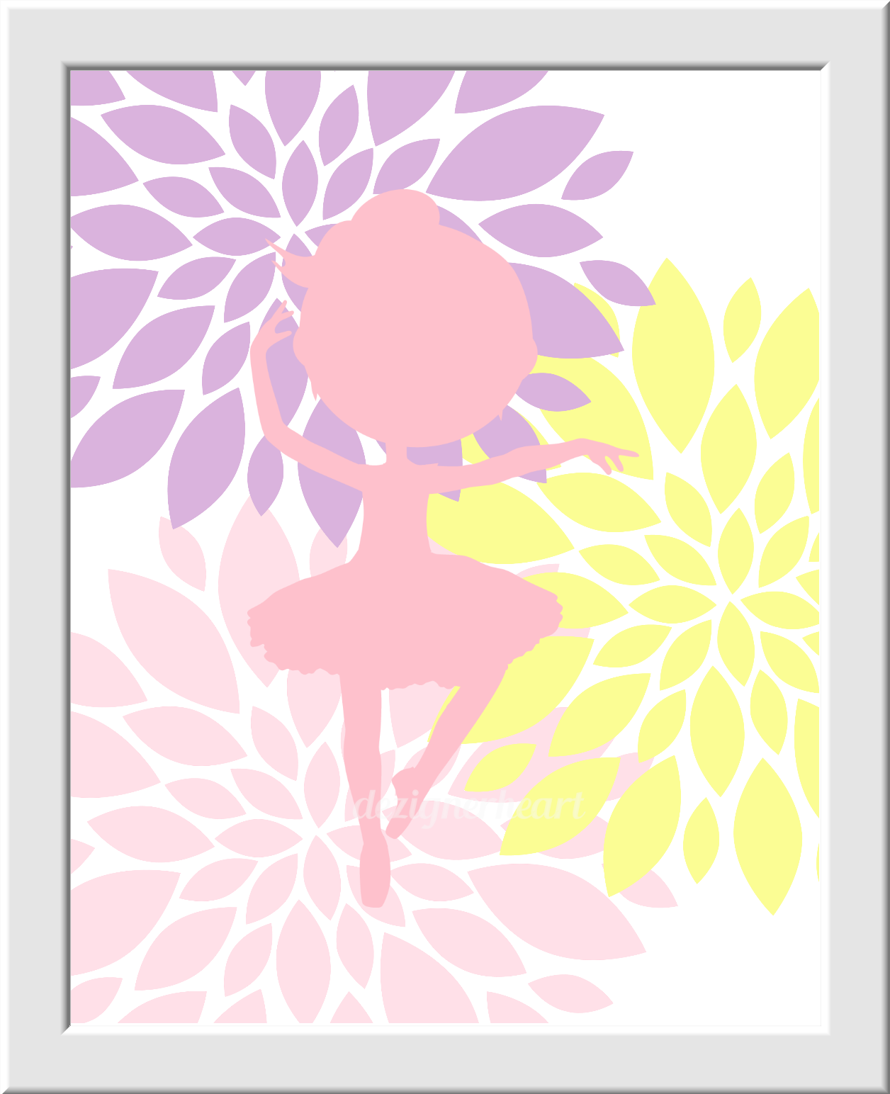BALLERINA Wall Art Pink Yellow Lavender Purple Baby Nursery Decor ...