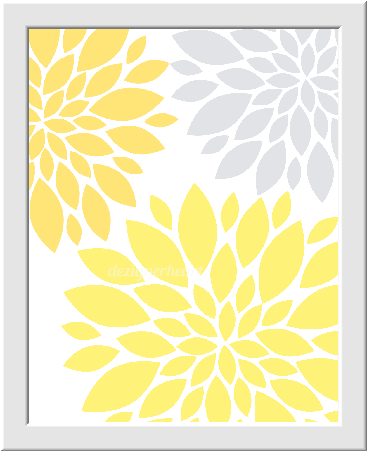 Modern Floral Wall Art Yellow Gray Grey Flower Burst Dahlia LOVE ...