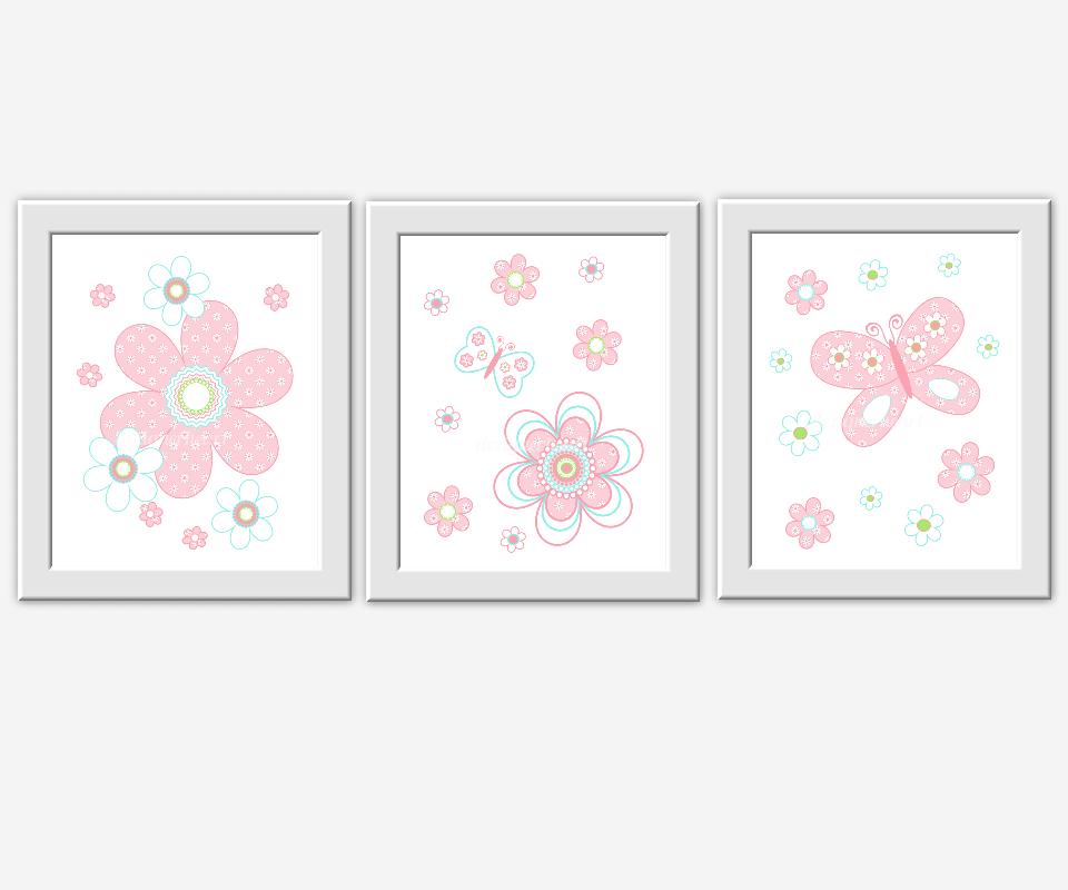 PINK Baby Nursery Wall Art Pink Aqua Flowers Butterflies Flower ...