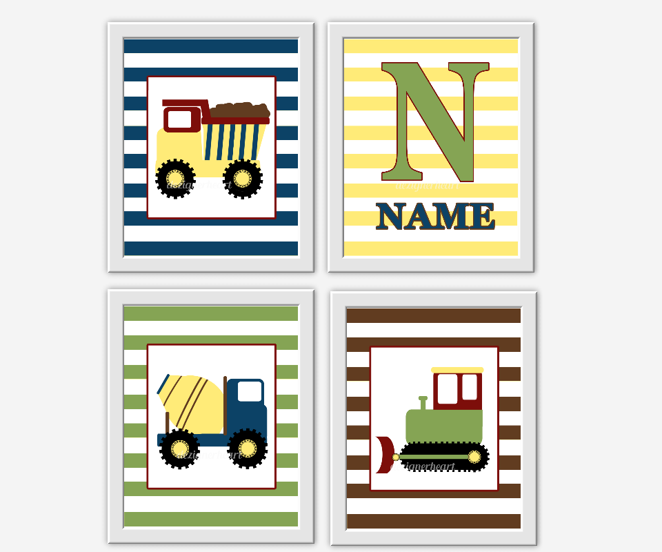 CONSTRUCTION Trucks Baby Boy Nursery Art Yellow Green Brown Blue Red ...