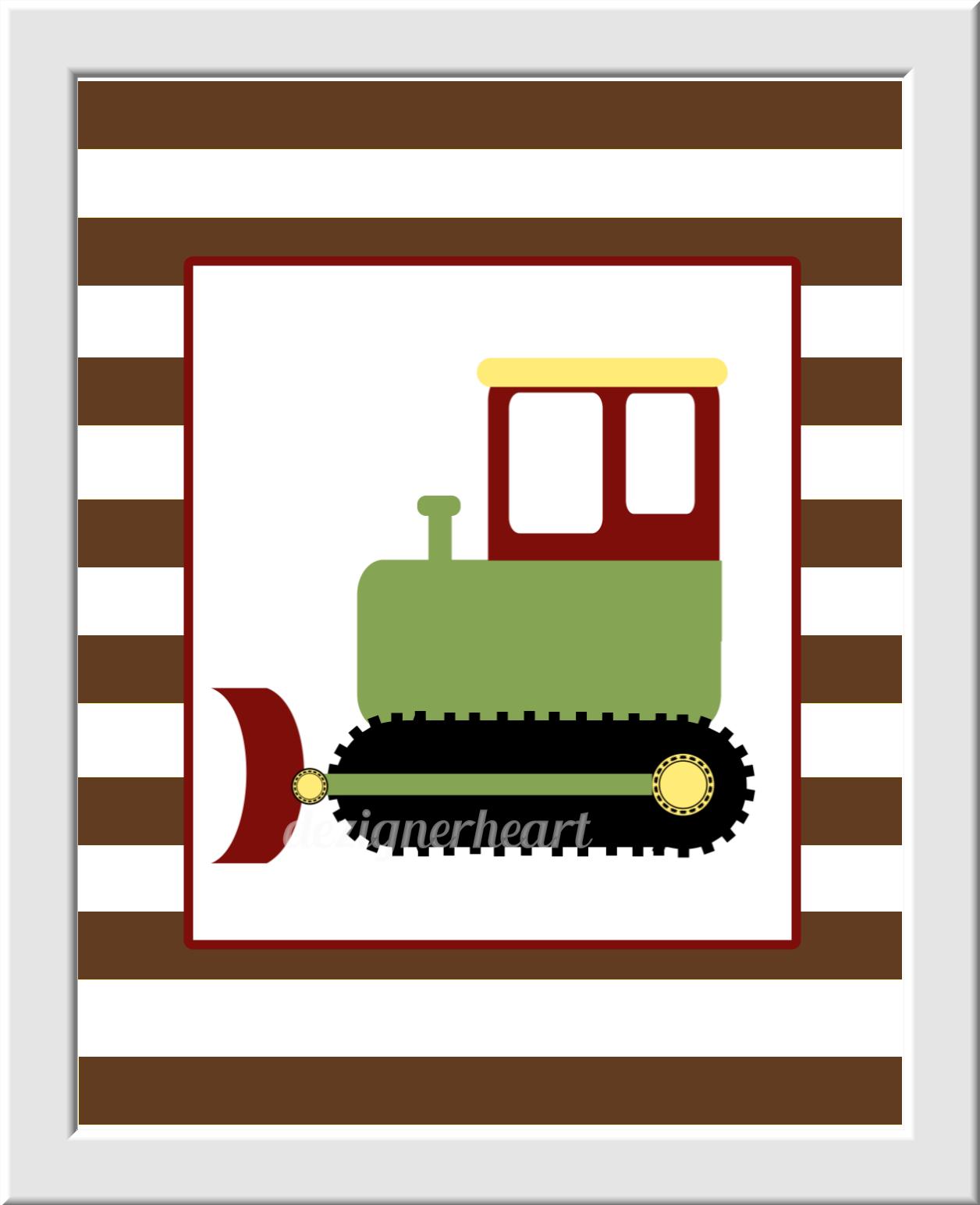 CONSTRUCTION Trucks Baby Boy Nursery Art Yellow Green Brown Blue Red Dump Truck Cement Tractor Construction Bedding Builder Decor Baby Boy Decor Nursery Wall Art Boys Room Prints Baby Nursery Decor