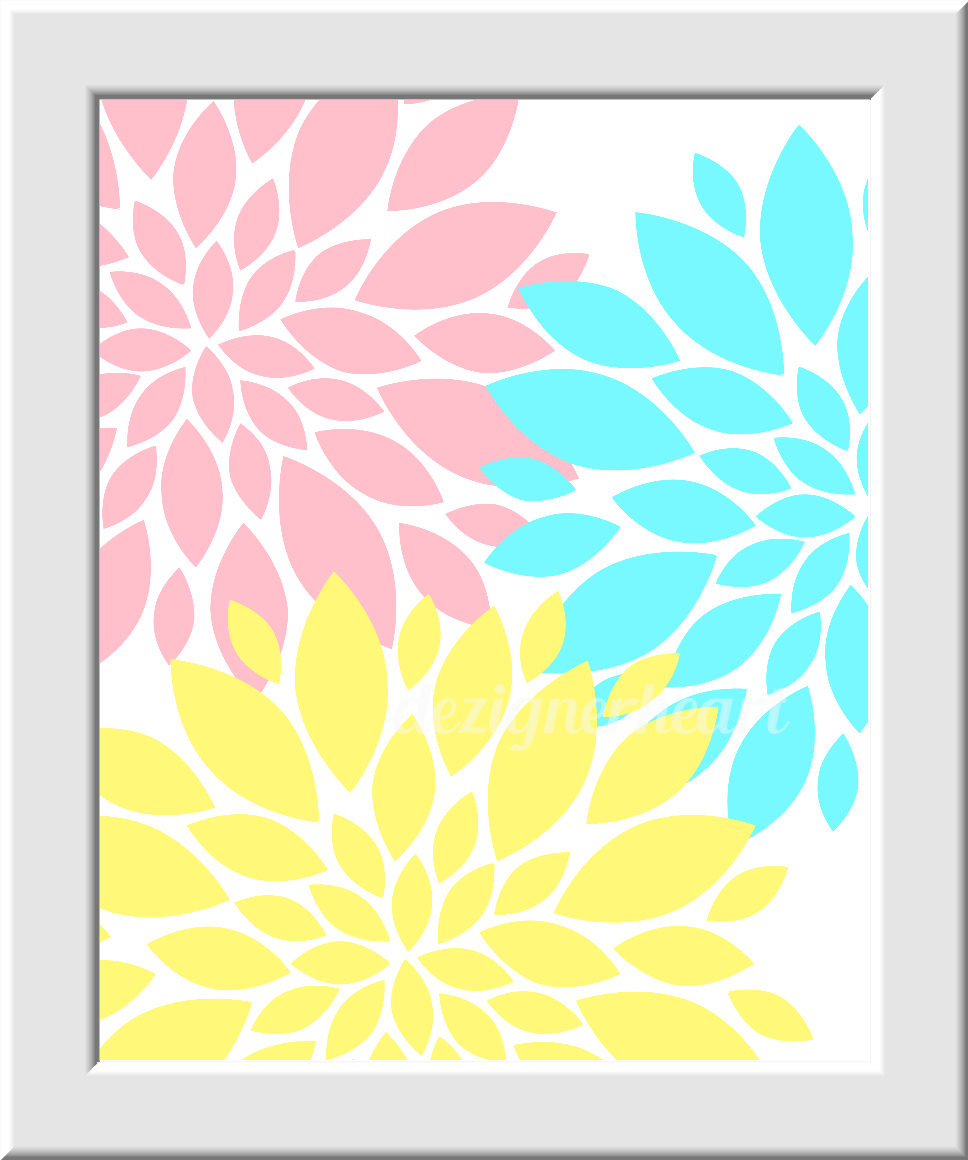 Baby Girl Nursery Wall Art Pink Aqua Yellow Flower Burst Dahlias ...