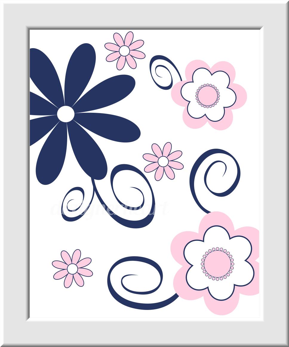 PINK Baby Girl Nursery Wall Art Pink Navy Blue Monogram Flowers ...