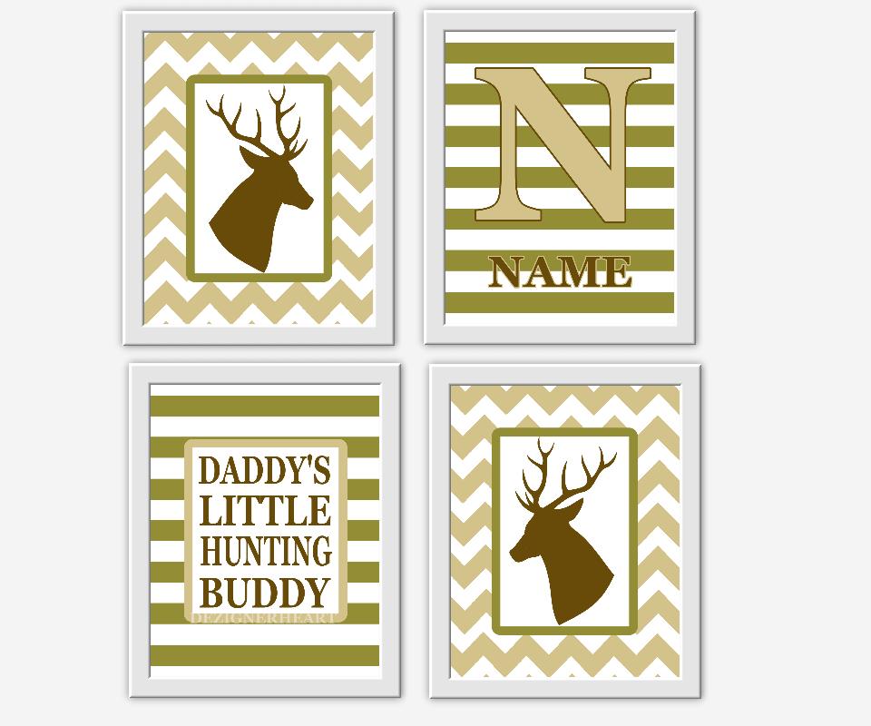 Baby Boy Nursery Decor Deer Antlers Hunting Brown Green Khaki Hunter ...