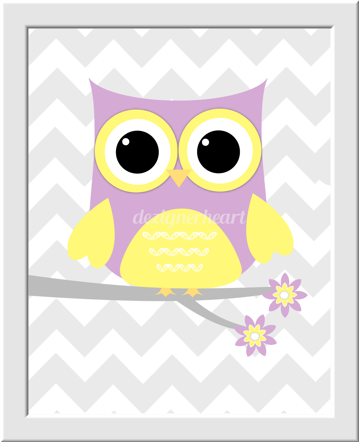 OWL Baby Nursery Wall Art LAVENDER YELLOW LOVE Personalized Monogram ...