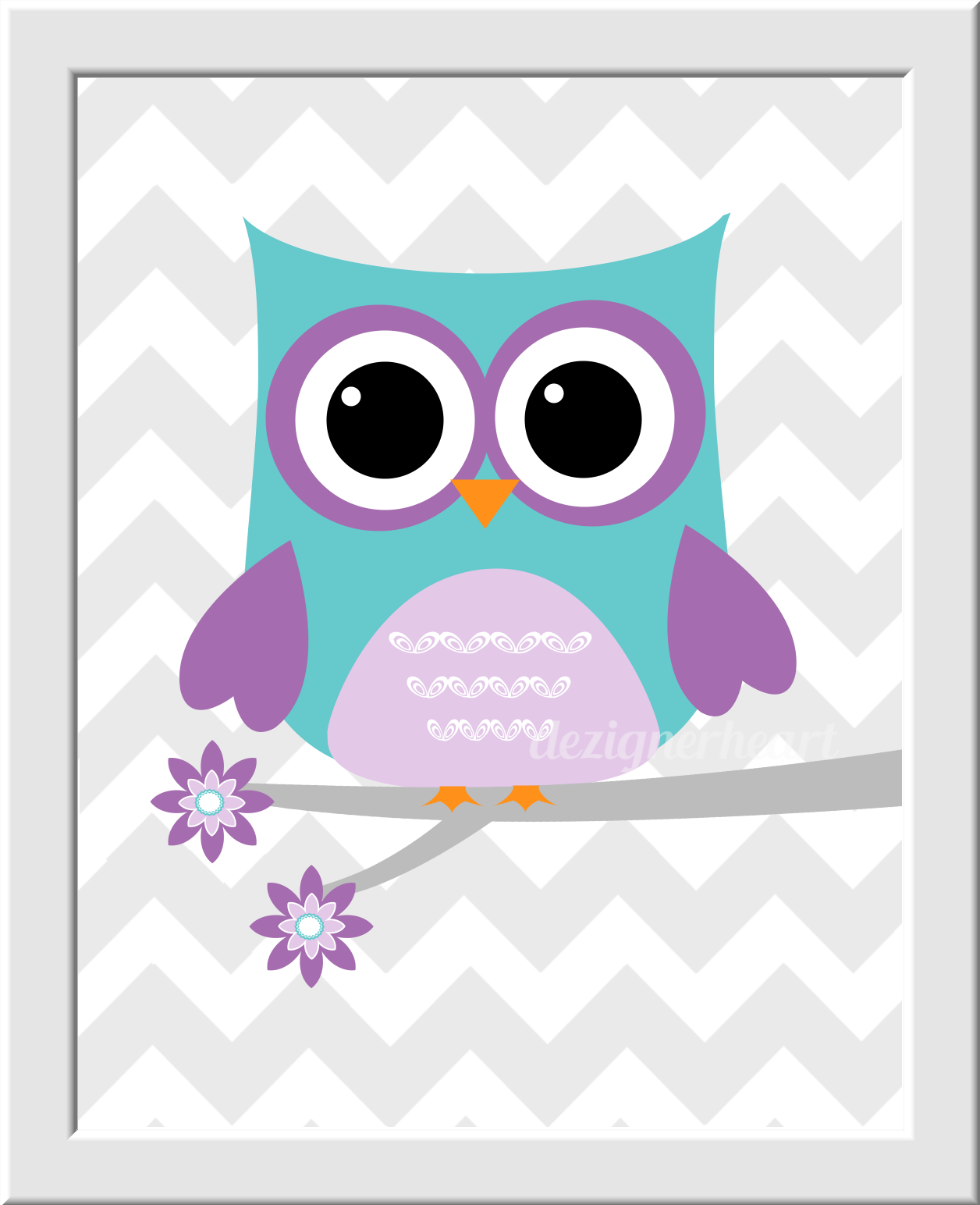 Owl baby nursery wall art lavender teal purple name love print owls gray chevron polka dots baby - Girl owl decor ...