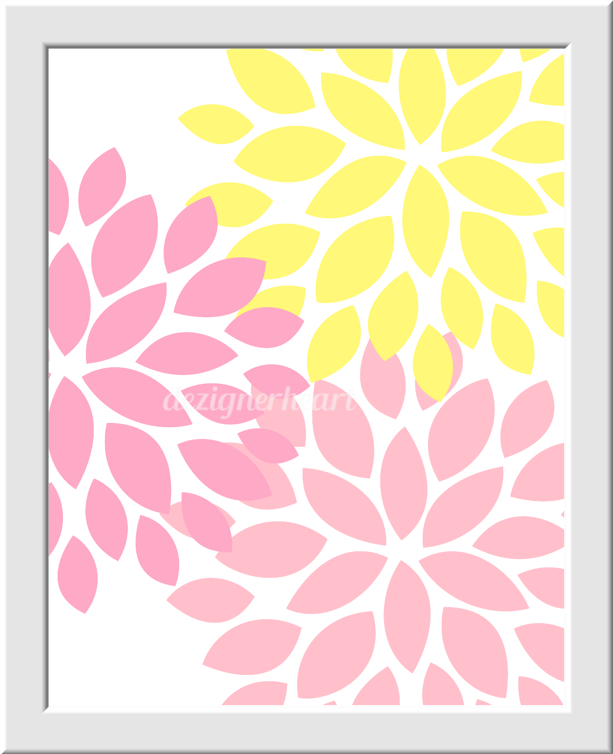 Baby Girl Nursery Decor Pink Yellow Flower Burst Florals Flourish ...