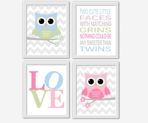 TWINS Baby Nursery Wall Art Baby Girl Baby Boy Owls Twice the Fun ...
