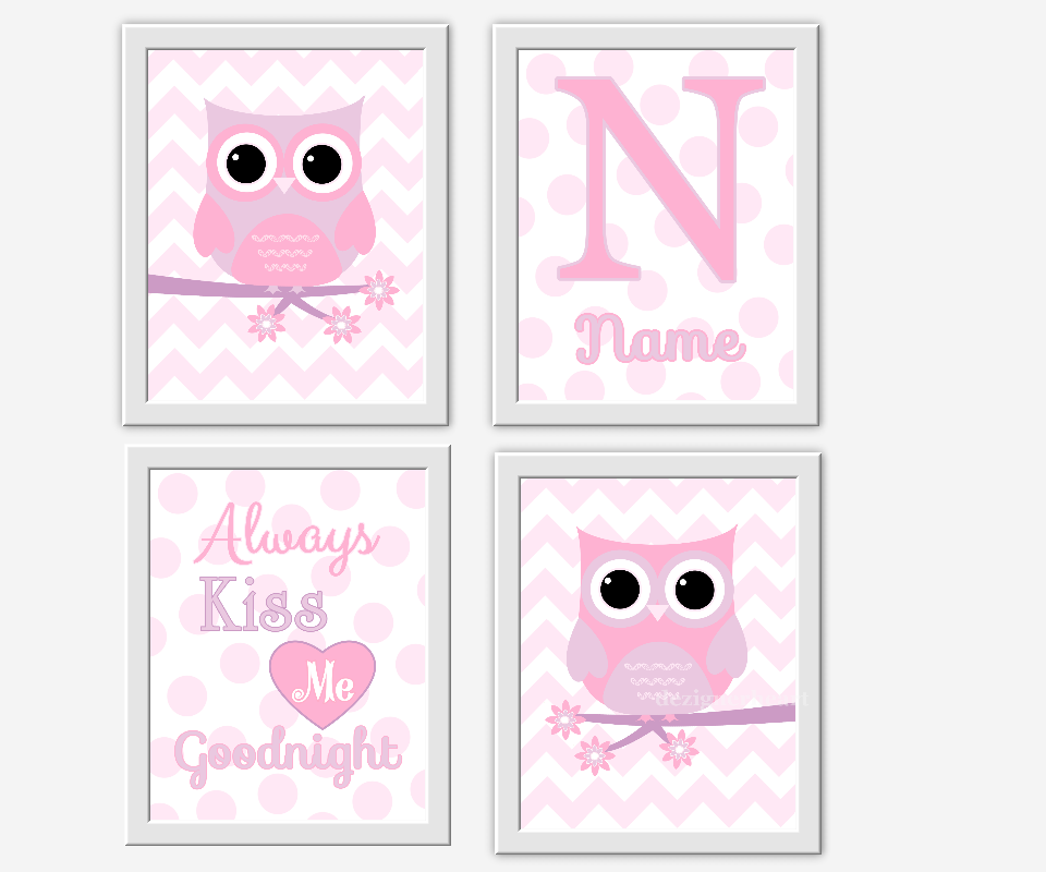 OWL Baby Girl Nursery Wall Art Pink Lavender Purple Girl Room Art ...