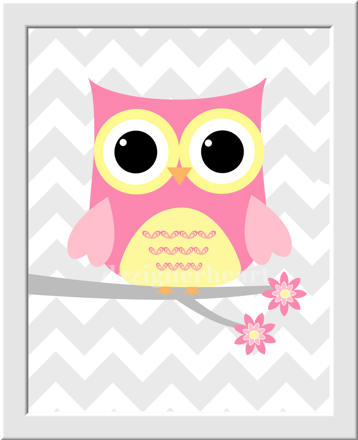 OWL Baby Nursery Wall Art Pink Yellow Monogram You Are My Sunshine ...