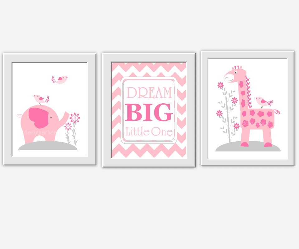Baby Girl Nursery Wall Art Pink Gray Elephant Giraffe Dream Big Girl ...