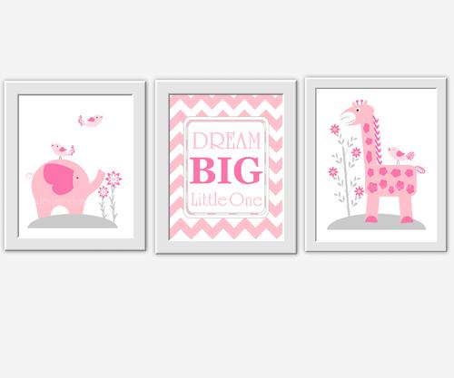 Baby Girl Nursery Wall Art Pink Gray Elephant Giraffe Dream Big Girl Room Wall  Decor Baby ...