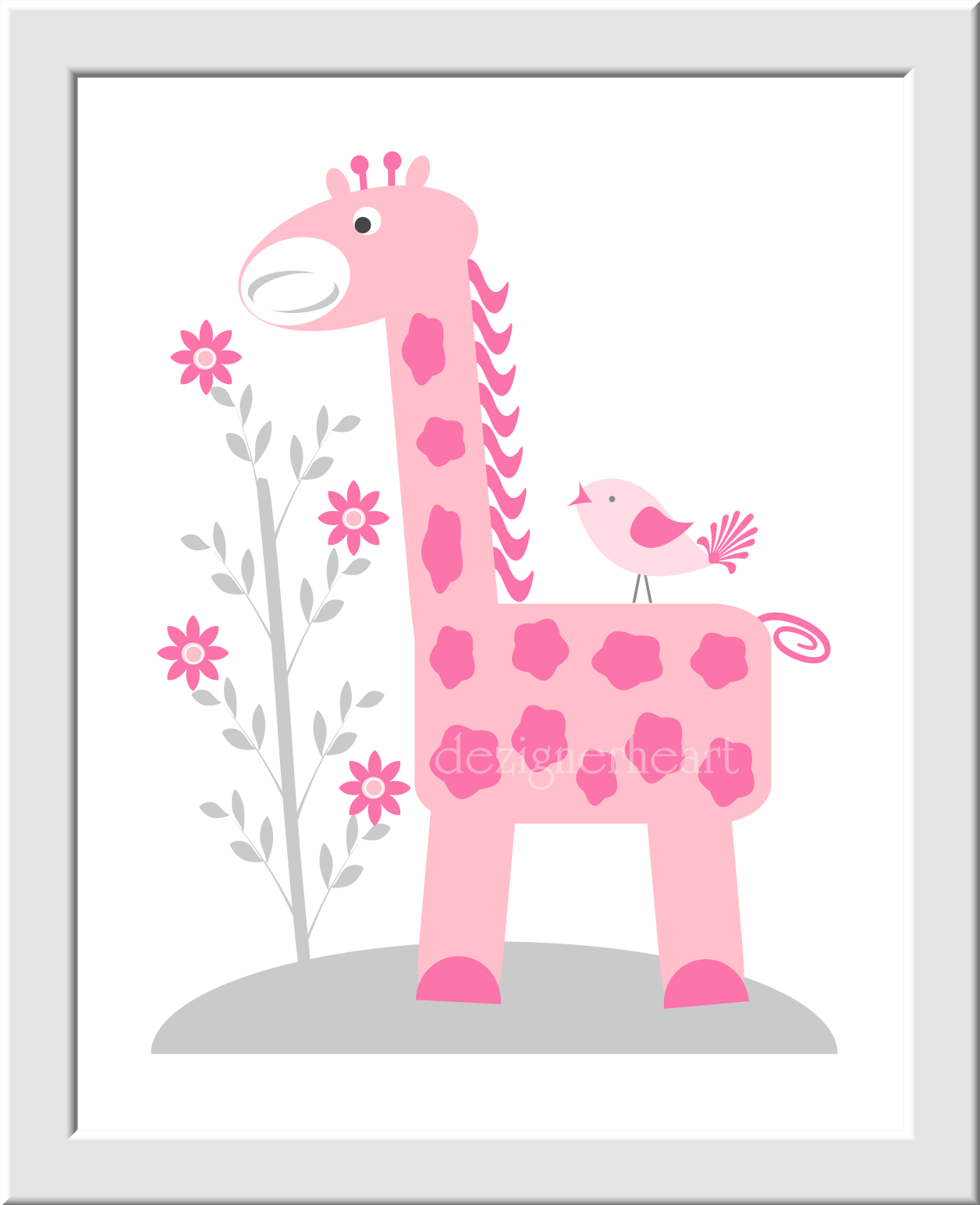 Baby girl nursery wall art pink gray elephant giraffe for Pink wall art