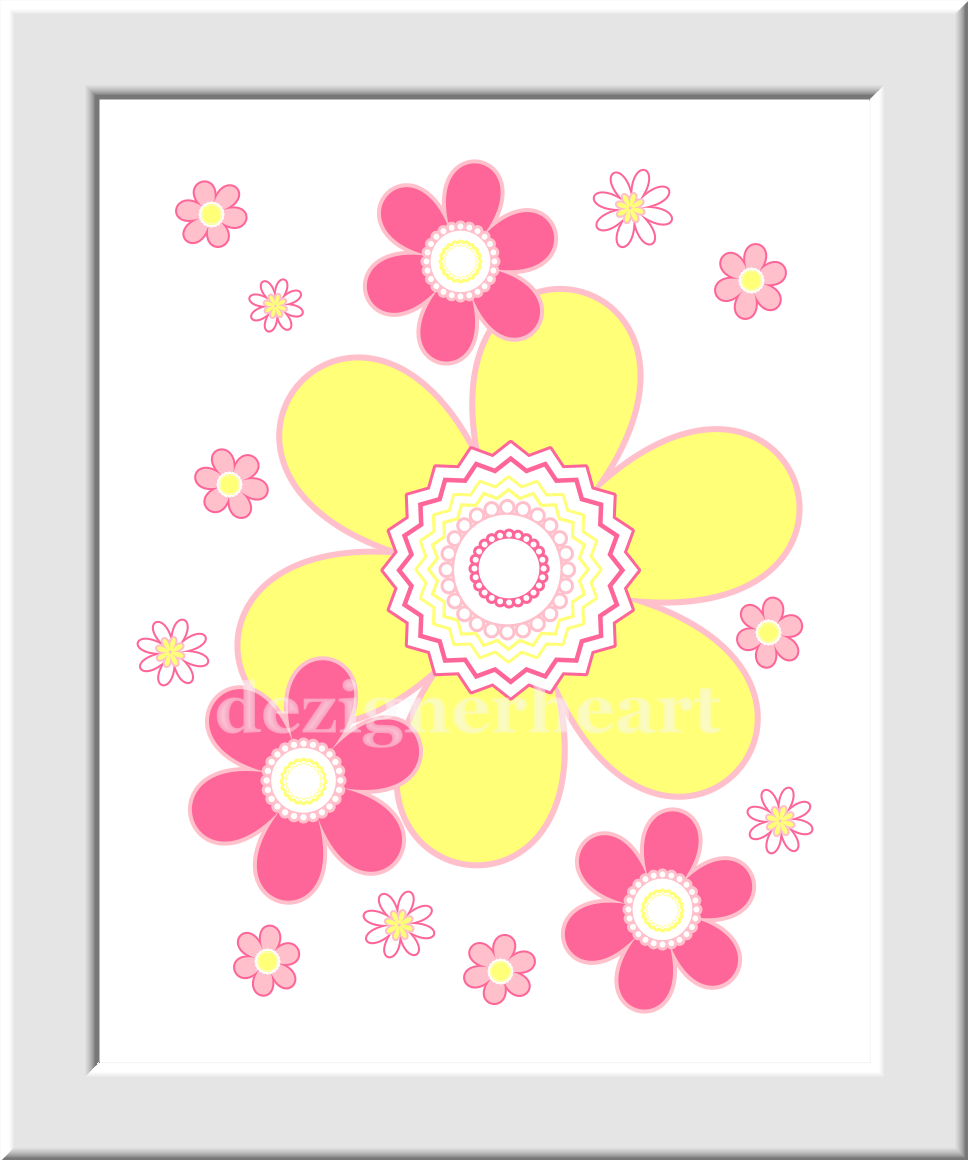 Baby Girl Nursery Wall Art Hot Pink Yellow Flowers Butterfly Girls ...