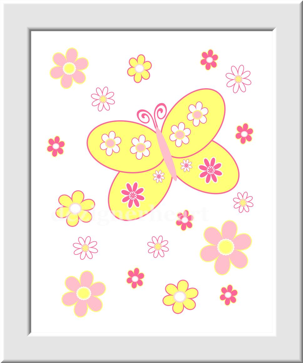 Baby Girl Nursery Wall Art Hot Pink Yellow Flowers Butterfly Girls ...
