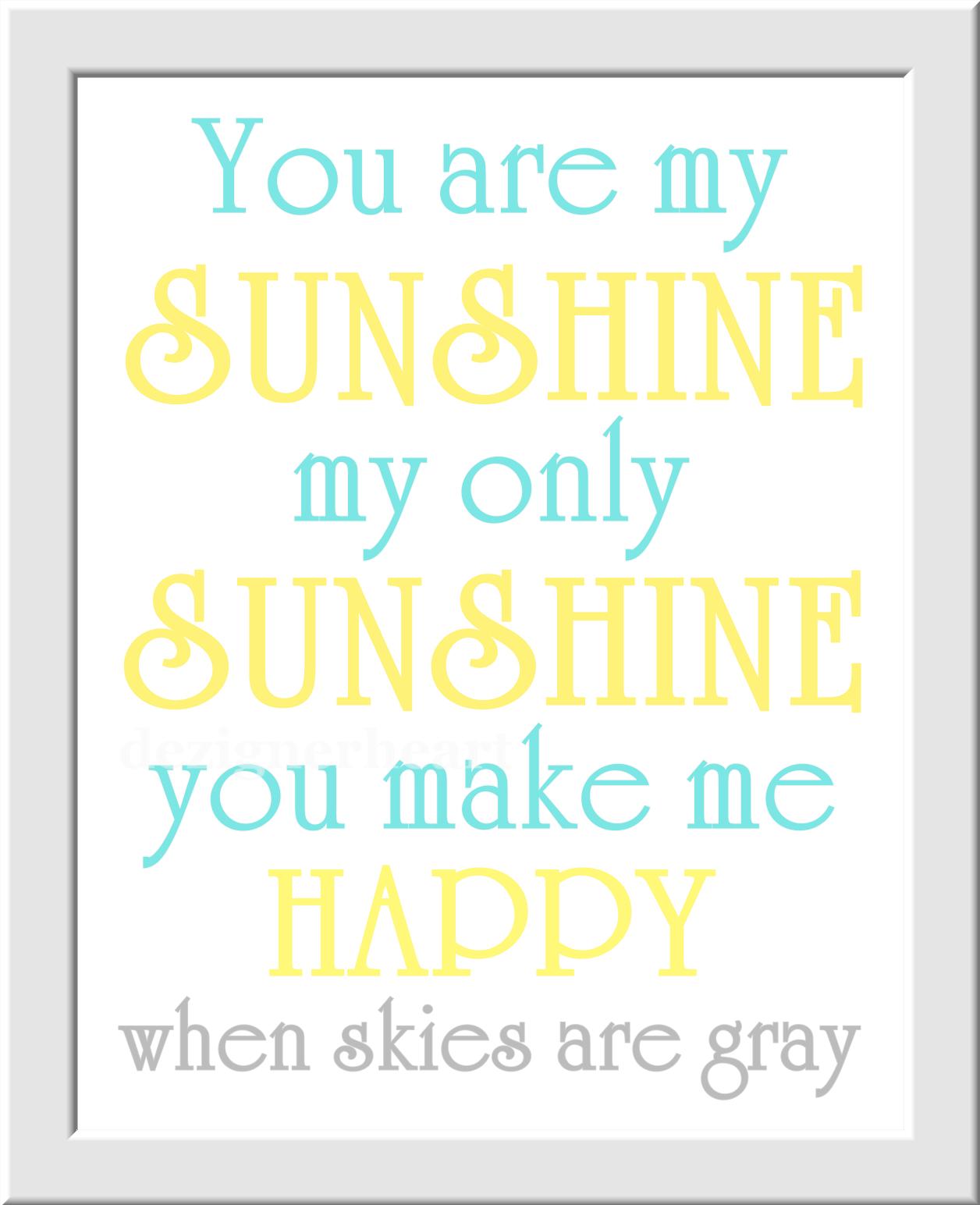 Owl Baby Nursery Wall Art Yellow Aqua Teal Gray You Are My Sunshine ...