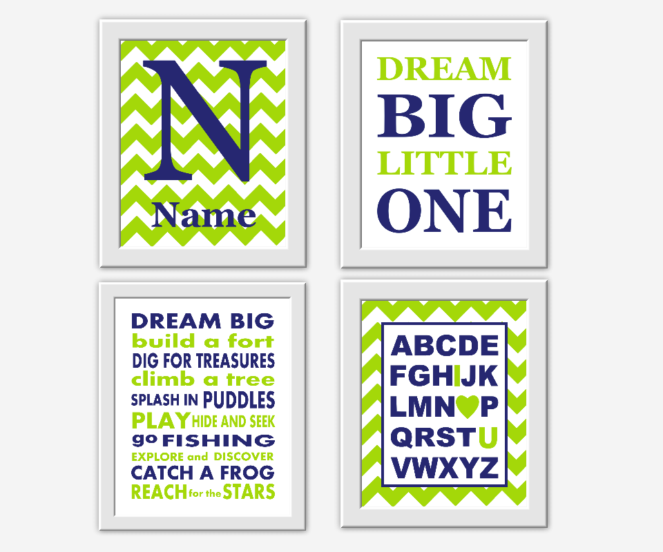Navy Blue Lime Green Boy Nursery Wall Art Dream Big ABC Personalized ...