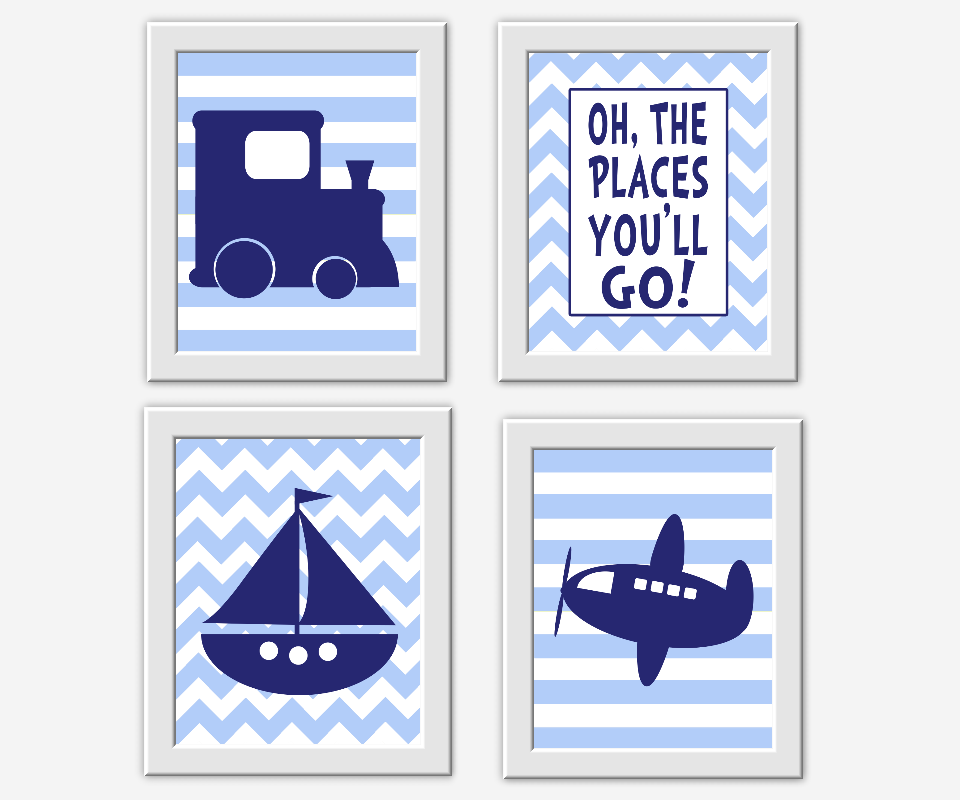 Baby Boy Nursery Decor Navy Blue Train Sailboat Boat Plane Airplane Oh The Places You Ll Go Dr Seuss Quote Stripe Chevron Transportation Wall Art