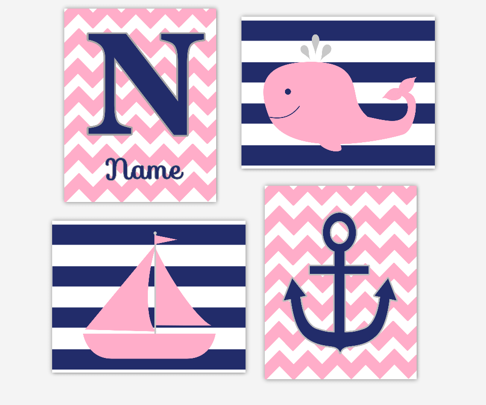 PINK NAVY Nautical Baby Nursery Wall Art Baby Girl Prints Whale Sailboat Monogram Name Personalized Art Anchor Girls Bath Art Bathroom Wall Decor Baby Nursery Decor Baby Girl SET OF 4 UNFRAMED PRINTS 00453